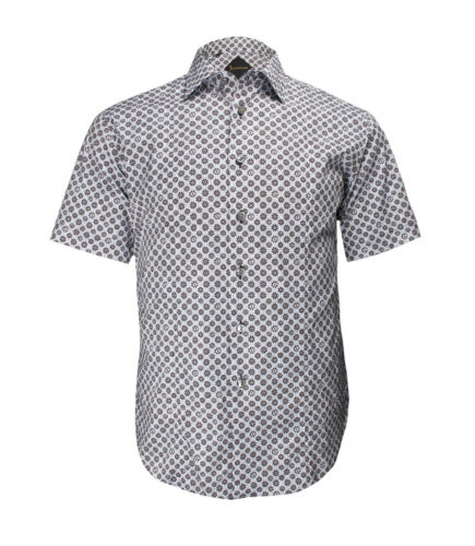 Billionaire Couture Men/'s Floral Cotton Dress Shirt Paris Slim fit Short Sleeve
