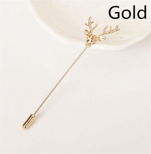 Exquisite Gold Jagd Buck Hirschkopf Hirsch Revers Anstecknadel Krawatte Hut  A