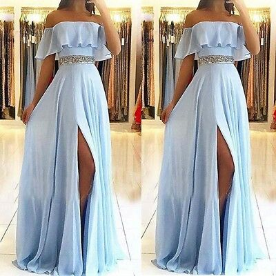 Light Blue Side Split Evening Dresses