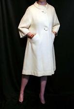M~L Cream Nubby Wool Vtg 50s Bracelet Slv Swirl Button Swing Outwear Dress Coat