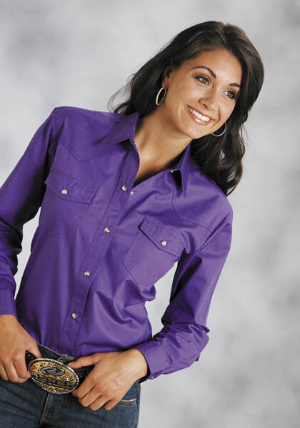 Roper Ladies Solid Purple  Poplin Long Sleeve Western Show Shirt Snaps S M L XL  sale