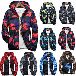 Men-Waterproof-Camo-Windbreaker-Hoodie-Hooded-Sweatshirt-Zip-Jacket-Outwear-New