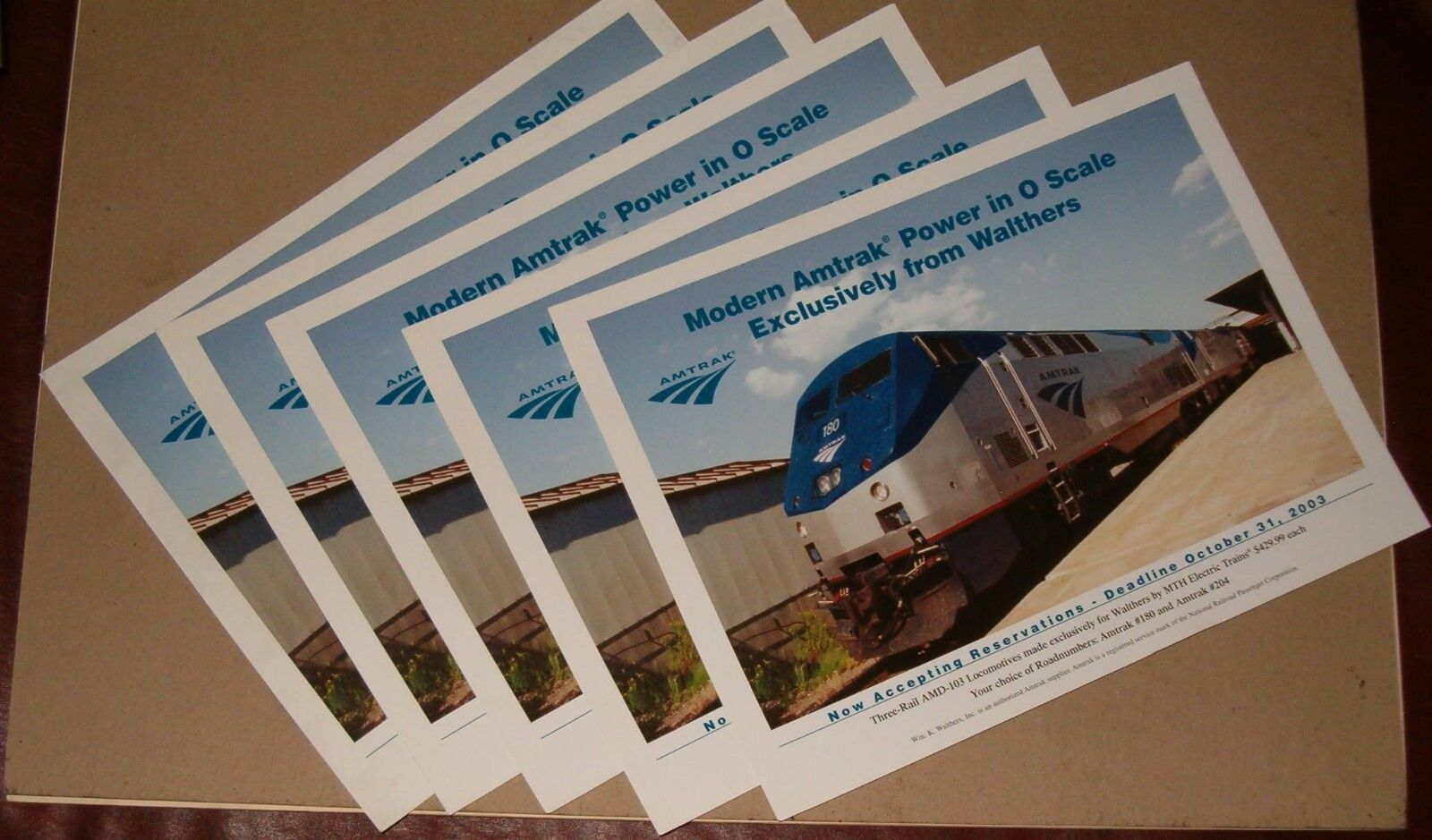 Wm. K. Walthers one page promo card for Amtrak AMD-103 locos (5 of them)