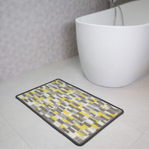 Details About New Modern Grey Yellow Non Slip Kitchen Rug Mat Floor Small Large Runner Doormat