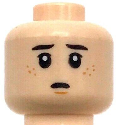 Lego New Light Flesh Minifigure Head Dual Sided Dark Brown Eyebrows Dark Orange
