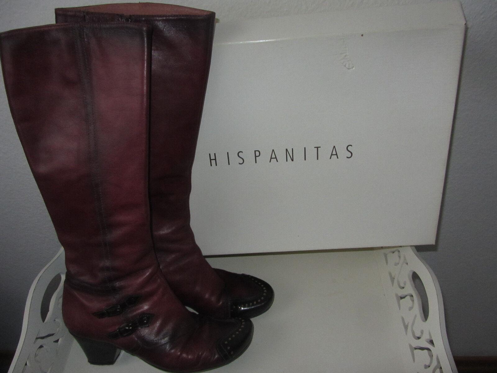 Hispanitas Leder Stiefel Schuhe Gr.38 dunkelrot Leder Hispanitas Modell CONGO RIOJA Echtleder f910e9