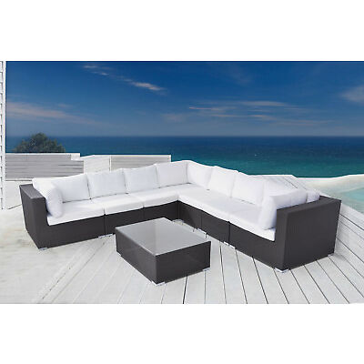 Velago Riva - Modern Lounge L-Shaped Wicker Outdoor Patio Sectional Set