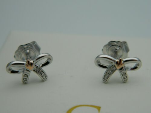 Clogau Silver /& 9ct Rose Gold Tree of Life Diamond Bow Earrings RRP £149.00