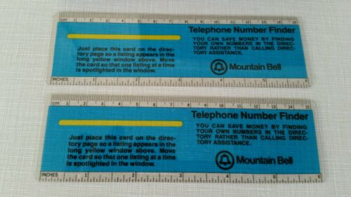 "2-VTG Mountain Bell Telephone* Flexible 6/"" Telephone Number Finders// Rulers"