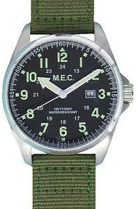 Orologio-Da-Uomo-Militare-Vintage-Movimento-Al-Quarzo-In-Acciaio-MEC-SAS-Green