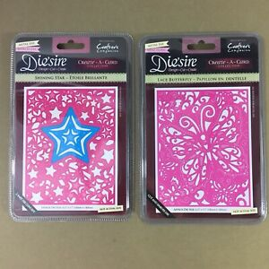 Lot-of-2-Die-039-sire-Create-A-Card-metal-cutting-dies-Shining-Star-amp-Lace-Butterfly