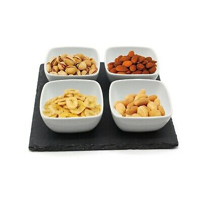 Vangogh Acacia Wooden Paddle White Porcelain Dipping Snack Appertizer Tapas Serving Bowls
