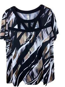 Perseption-Womens-2X-Black-White-Tan-Geometric-Print-Tunic-Top-Cut-Out-Neckline