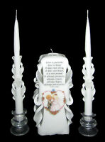 White & Precious Moments, Hand-carved Wedding Unity Candle Set - Sale (ap1)
