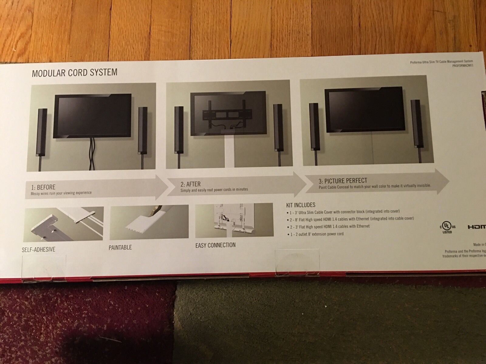 Cable Management Proformacm01 System Ultra Slim Sony Universal Hdtv Spacesaving Design Simplifies Inwall Wiring And Keeps Messy Cables Ebay
