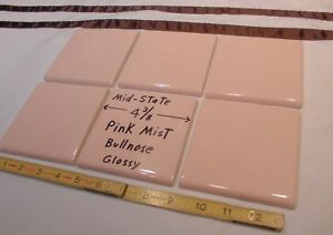 """Glossy *Pink Mist* 4"""" X 6"""" Ceramic Cove Base Tile by Mid-State 1 pc Bullnose"""