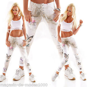 taglia stampa fiore farfalle bianco 40 42 boyfriend Pantaloni Italia jeans chino BwU8pqT