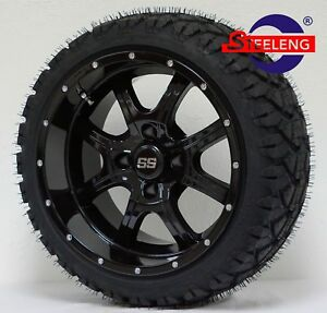 GOLF-CART-14-034-NIGHT-STALKER-WHEELS-and-20-034-STINGER-ALL-TERRAIN-TIRES-DOT-RATED