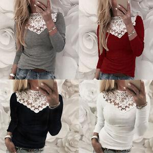 Sexy-Femme-Dentelle-en-Couture-Simple-Ample-Manche-Longue-Haut-Shirt-Tops-Plus