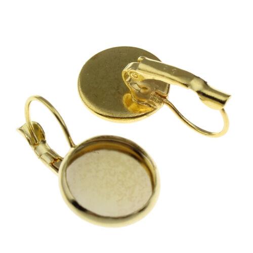 8 Messing Ohrstecker Gold Fassung für 12mm Cabochon Ohrhänger Ohrhaken BEST M141