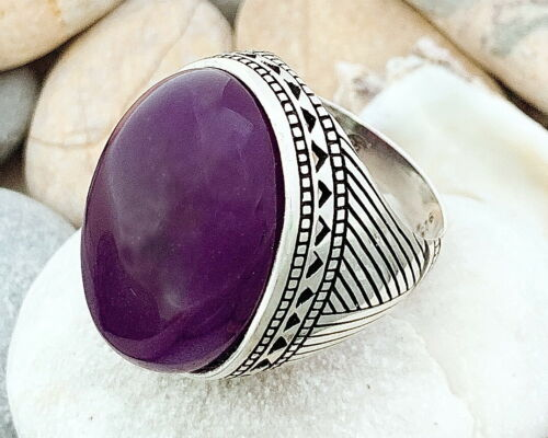 Handmade Big Face Blue purple Jade Stone 925 Sterling Silver Men's Woman's Ring