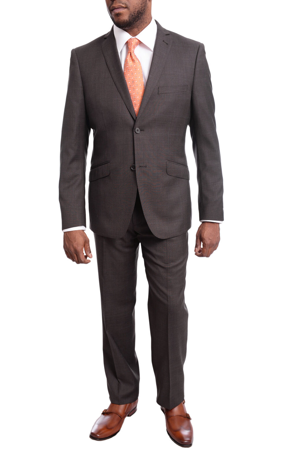 Mens 44S Ideal Slim Fit braun Plaid With Blau Overcheck Two Button Wool Suit
