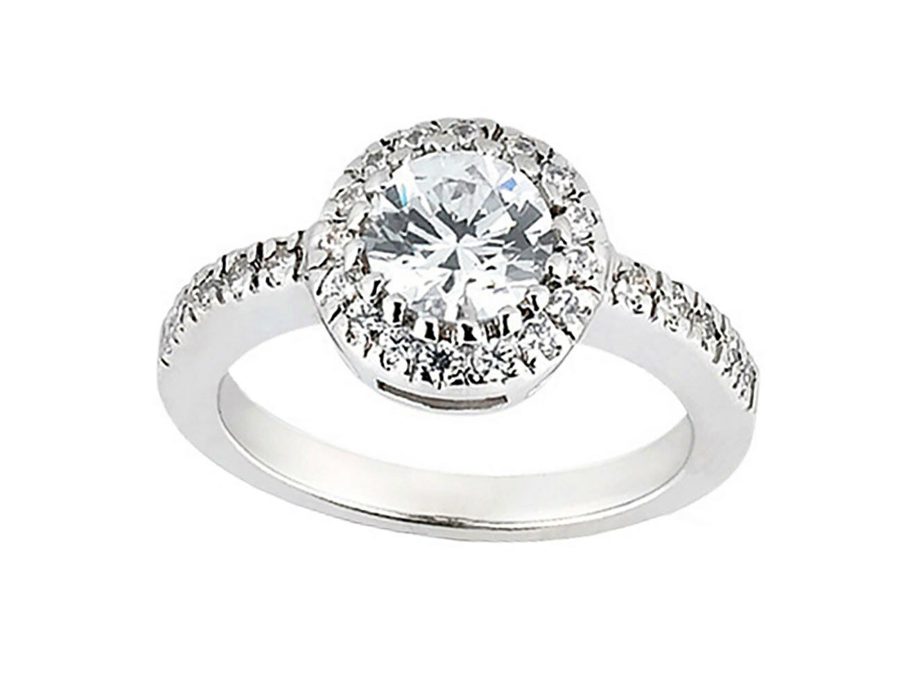 1.00ct Round Cut Diamond Halo Bridal Engagement Ring Solid 10k gold GH I1