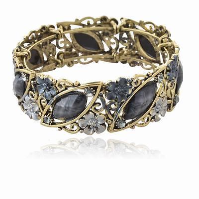 Vintage Gemstone Black Flower Rhinestone Diamante Cuff Statement Bracelet Bangle