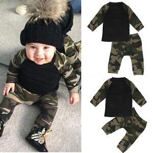 4d99914f614 2pcs Newborn Toddler Infant Kids Baby Boy Clothes T-shirt Tops+Pants ...