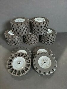 """Knex Wheels Lot 4 Large Tires 3.5"""" with Gray Hubs Pulleys ..."""