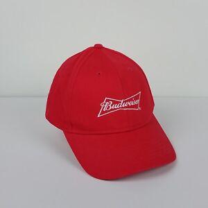 662d35975c7e5 Image is loading Budweiser-Red-Snapback-Baseball-Cap -White-Lettering-Adjustable-