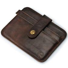 Mens Genuine Leather Money button Clip Slim Wallet ID Credit Card Holder Case
