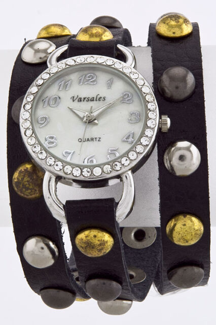 Black Dome Studded Wrap Watch