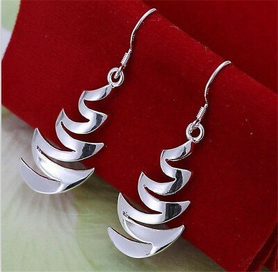 Wholesale New 925Solid Silver Jewelry Ladys Earrings Ear Studs Drops XMAS GIFT