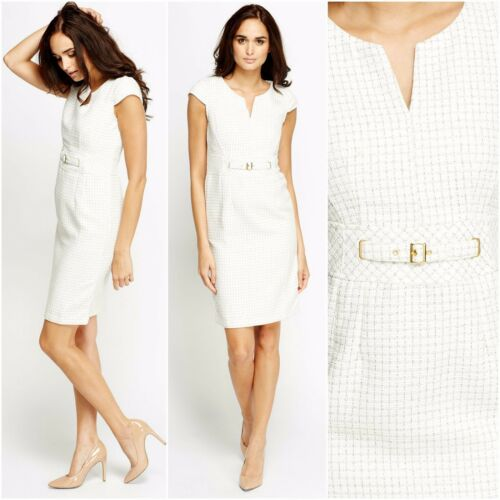 Women Business Pencil V-Neck Midi White Shift Formal Check Sleeveless New Dress