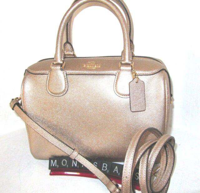 fad87713c08 Coach F39706 Mini Bennett Satchel Crossbody Bag Metallic Rose Gold Leather  $295