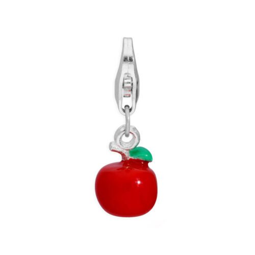 Plata De Ley /& Esmalte poco 3D Rojo Apple clip en encanto