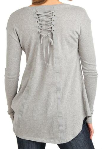 M or 2X NEW OSO Casuals® Cotton Long Sleeved Lace-up Back Trapeze Top Sz