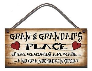 SHABBY CHIC WOODEN PLAQUE SIGN  GRAN AND GRANDADS PLACE  GIFT PRESENT