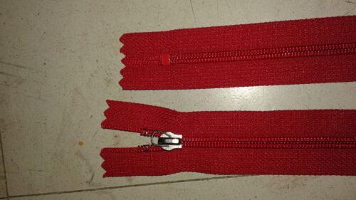 Lot 10 fermeture éclair YKK à glissière 18 cm rouge non separable