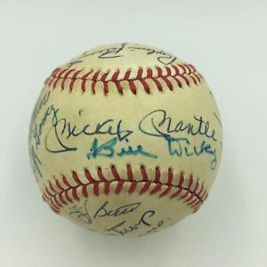 Mickey-Mantle-Joe-Dimaggio-Willie-Mays-HOF-Multi-Signed-Baseball-19-Sigs-PSA-DNA