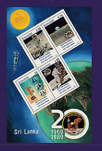 Sri-Lanka-4-Marken-1-Block-Raumfahrt-Landung-auf-dem-Mond