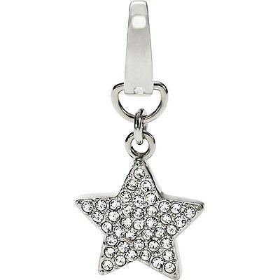 Fossil Brand Glitz Star Charm Bracelet Necklace Silver-tone Stainless Steel New