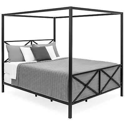 BCP Modern Metal 4 Post Canopy Queen Bed Frame   EBay