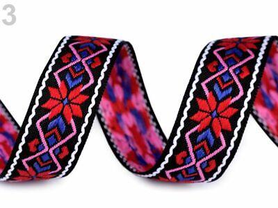 ,25 mm rosa FOLKLORE Ethno Webband,Aztekisch Indianisch,Boho Hippie,blau