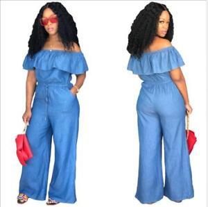 f801f602b99 Fashion Wide Leg Jumpsuit Blue Jean Ruffle Off Shoulder Pocket ...