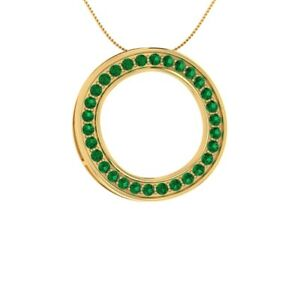 0-75-CT-Round-Cut-Solitaire-Green-Emerald-Pendant-14k-Yellow-Gold-GP-18-034-Necklace
