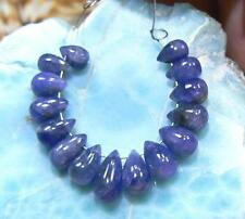 15 RARE GENUINE NATURAL BLUE SMOOTH SAPPHIRE BRIOLETTE BEADs 19ct 5-9mm