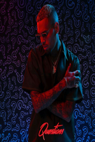 14 24x36 Chris Brown on a Full Moon Questions Cover Art Silk Poster Y-499