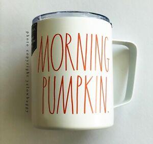 Rae-Dunn-Morning-Pumpkin-Stainless-Steel-Mug-Ivory-with-Orange-Letters-Handle